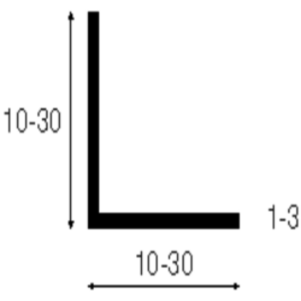 L-profil - 10x10 mm - fehér